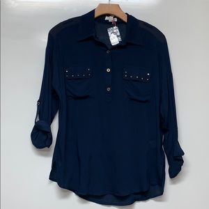 New MINE Navy Studded Top